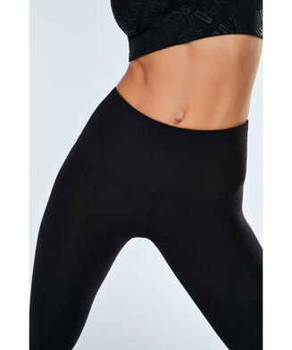 HKMX High Waist Sportlegging branded gloss, Zwart