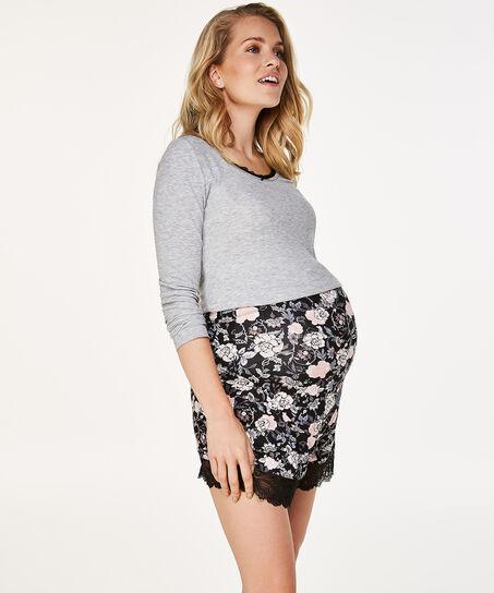 Lange mouwen zwangerschapspyjamashirt, Grijs