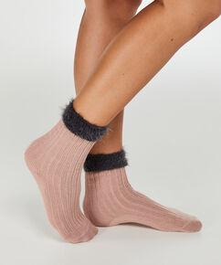 1 paar fluffy sokken, Roze