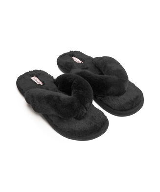 Slippers Fake Fur, Zwart