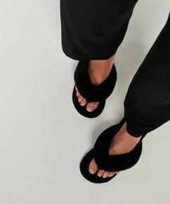 Slippers Fake Fur, Zwart