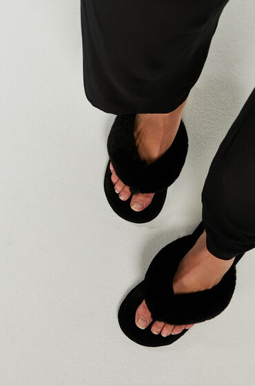 Hunkemöller Slippers Fake Fur Zwart