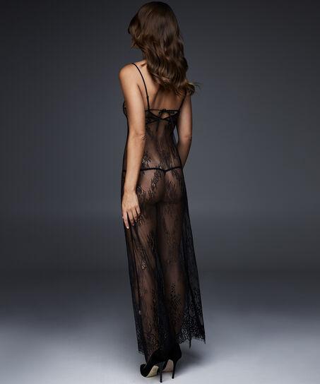 Slipdress Lace All Over, Zwart