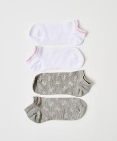 2 paar katoenen sokken trainerliners, Grijs