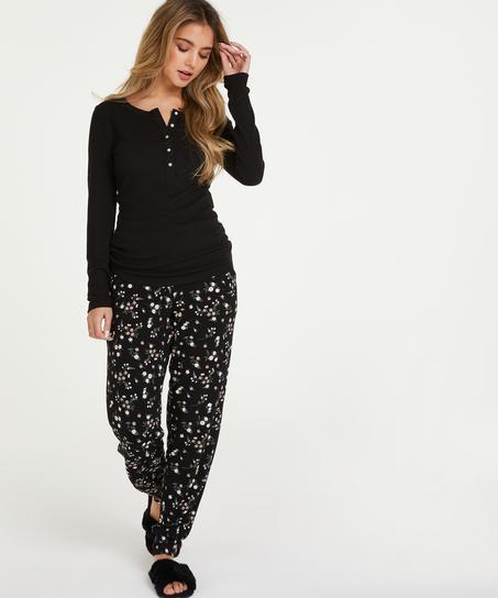 Pyjamatop lange mouwen, Zwart
