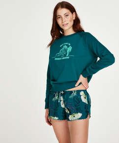 Korte pyjamabroek Lotus Bird, Grijs