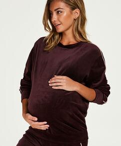Zwangerschapstop lange mouwen velours, Rood