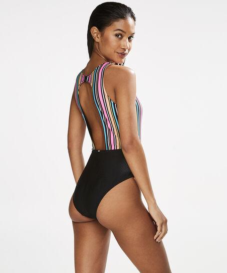 HKMX Bathingsuit Cut Out Stripe, Zwart