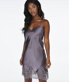 Slipdress Satin Lace, Grijs