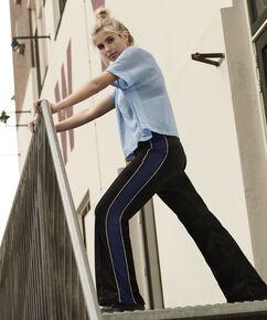 HKMX Wijde velours sportbroek Blogger Xenia, Zwart