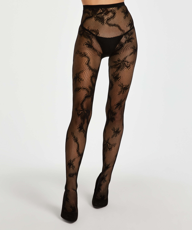 Panty 15 Denier All Over Lace, Zwart, main