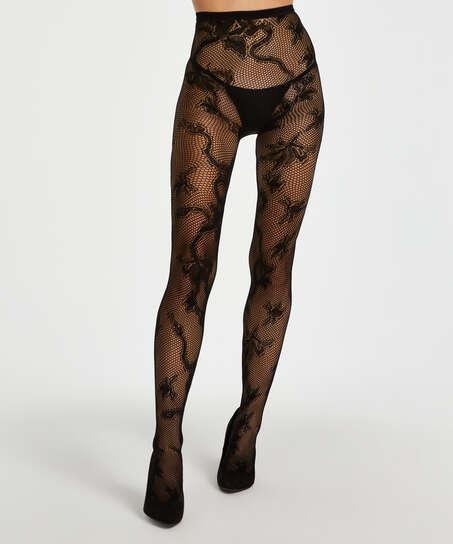 Panty 15 Denier All Over Lace, Zwart