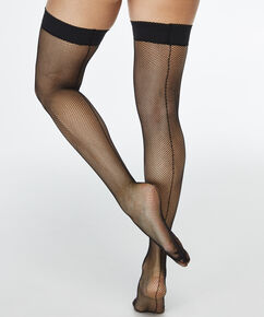 Stay-up Fishnet Backseam, Zwart