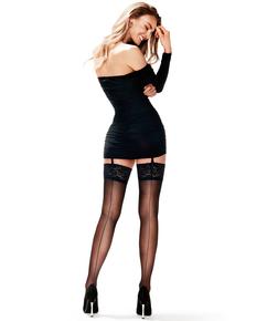 Stocking 15 denier Lace Backseam, Zwart