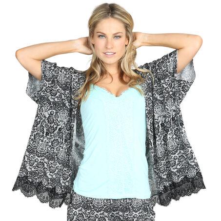 Kimono Macy lace print, Zwart