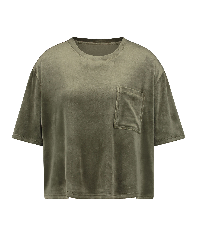 Top Velours Pocket, Groen, main