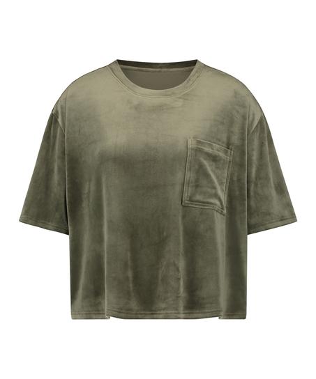 Top Velours Pocket, Groen