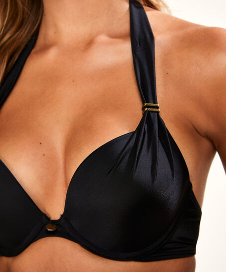 Voorgevormde push-up bikinitop Boho Chic, Zwart