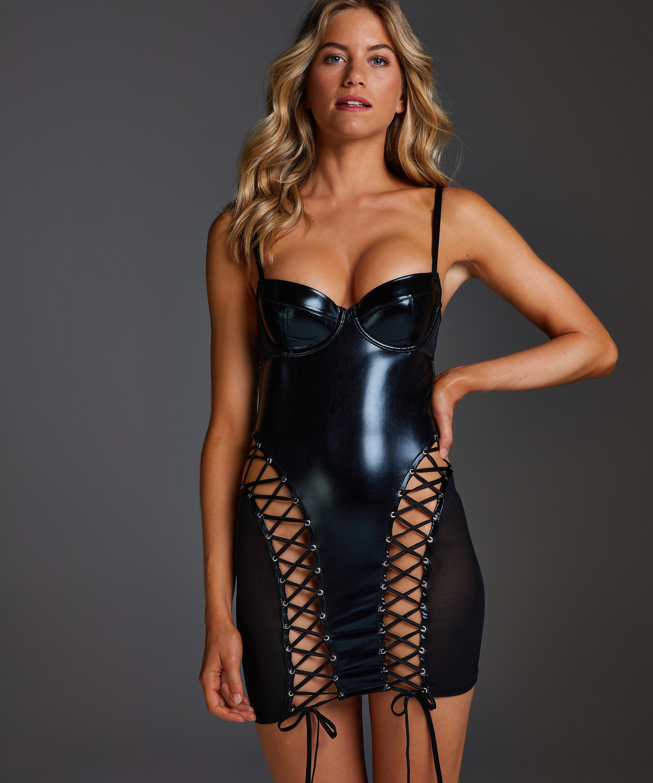 Slipdress mesh lace-up, Zwart, main