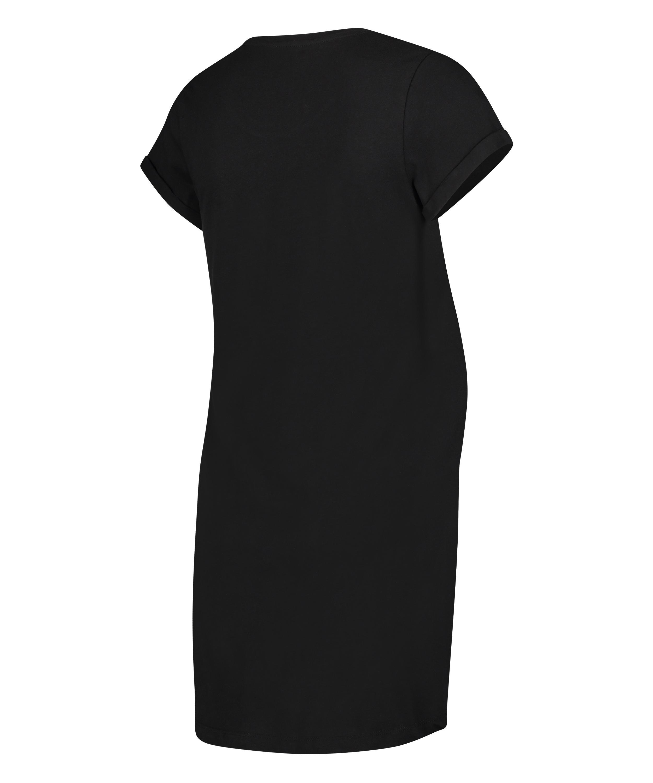 Zwangerschapsnachthemd met korte mouwen, Zwart, main