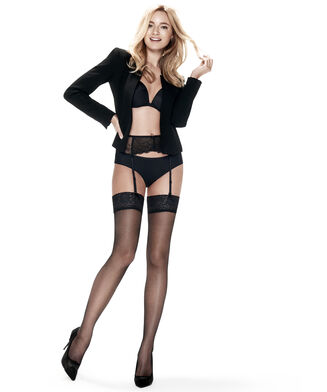 Stocking Fishnet Lacetop, Zwart