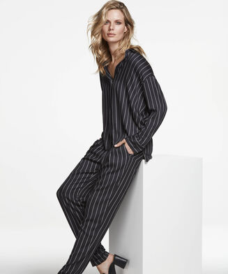 Pyjamabroek woven tapered, Zwart