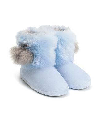 Pantoffel Textured Fur, Blauw