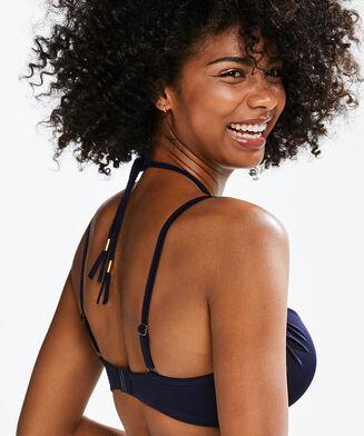 Voorgevormde beugel bikinitop Braided Rings, Blauw