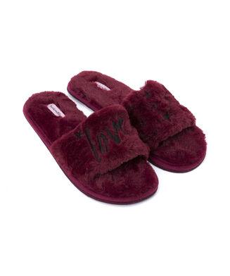 Love fake fur lady slipper, Rood