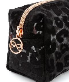 Make up tas mesh leopard, Zwart