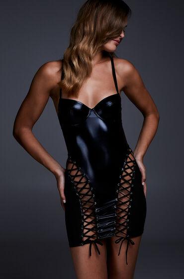 Hunkemöller Slipdress mesh lace-up Zwart