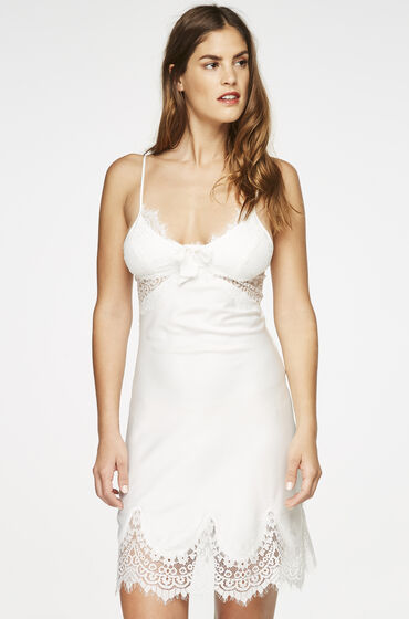 Hunkemöller Slipdress Satin Scallop Lace Wit
