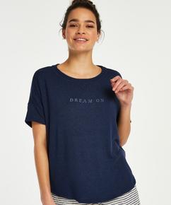 Pyjamatop korte mouwen Brushed Jersey, Blauw