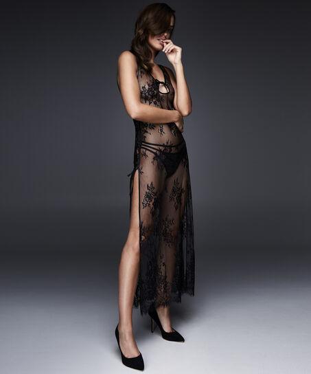 Lange slipdress Lace, Zwart