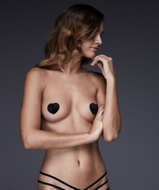 Private Nipple Cover Fake Fur, Zwart