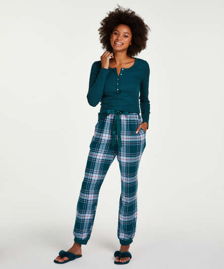 Pyjamatop lange mouwen, Blauw