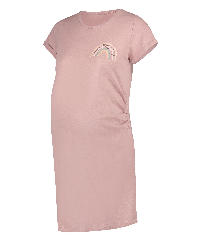 Zwangerschapsnachthemd met korte mouwen, Roze, main