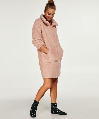Badjas fleece rits - Pink Ribbon, Roze