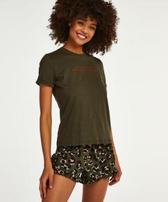 Shorts Jersey Leopard Ruffle, Groen