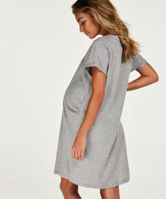 Zwangerschapsnachthemd met korte mouwen, Grijs