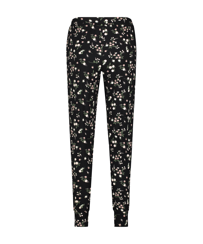 Pyjamabroek Jersey, Zwart, main