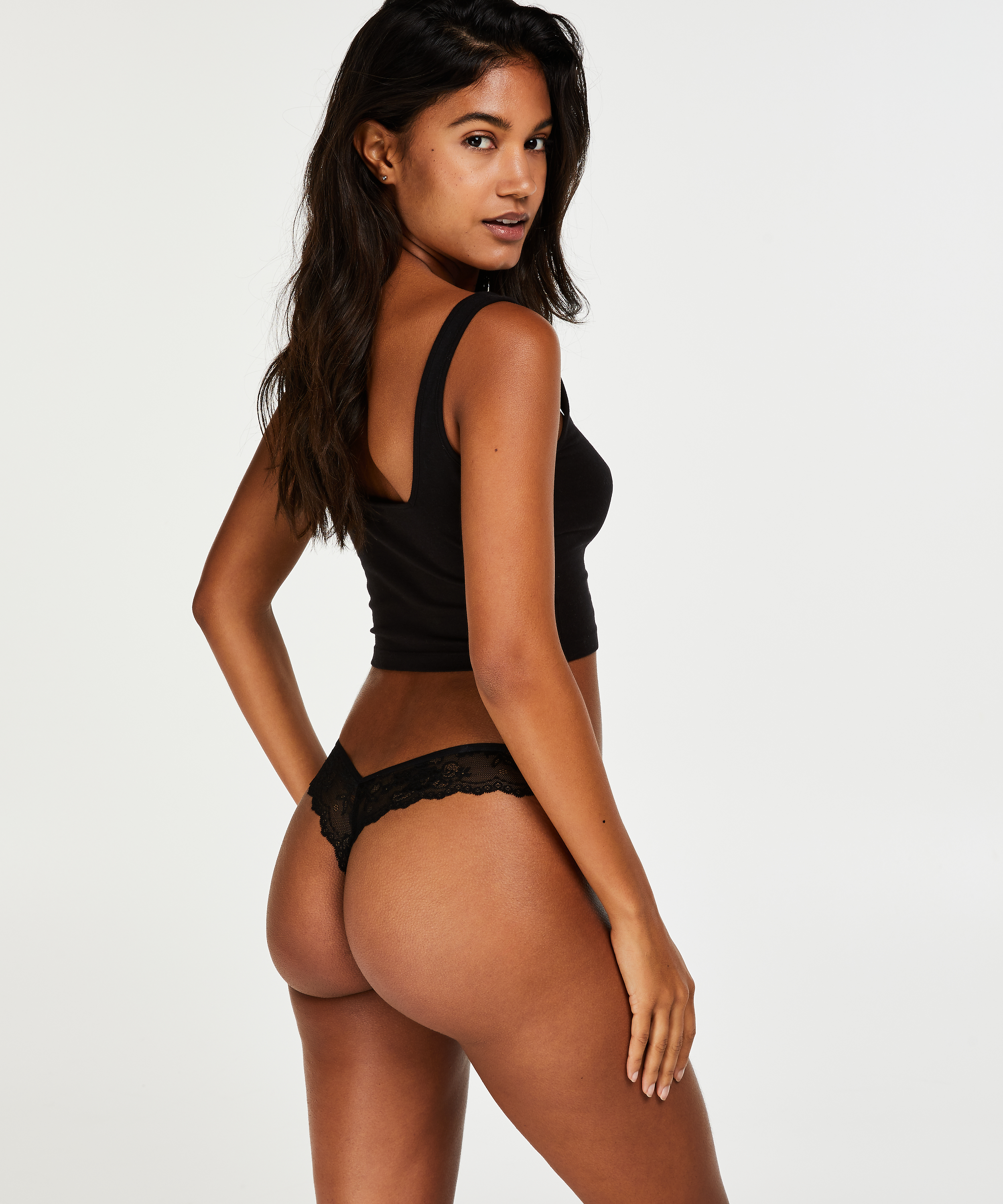 Invisible string Lace back, Zwart, main