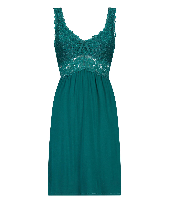 Slipdress Modal lace, Groen, main