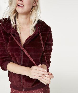 Cardigown Fleece Fur Stripe, Rood