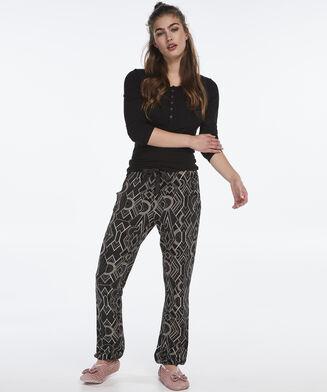 Pyjama top lange mouwen rib, Zwart