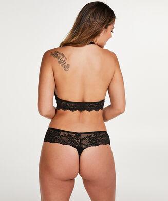 Bralette Halter Lace, Zwart