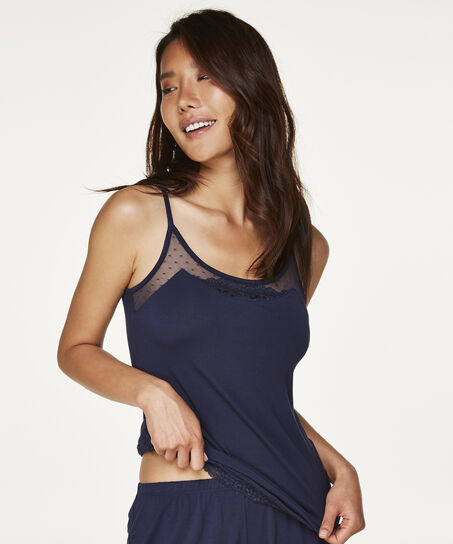 Cami-top Jersey Mesh Lace, Blauw
