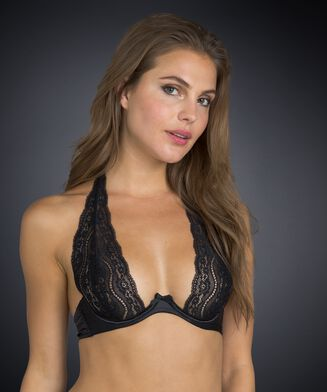Non-padded underwired bra Jade lace, Zwart