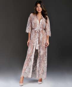 Lange Kimono Allover Lace, Beige
