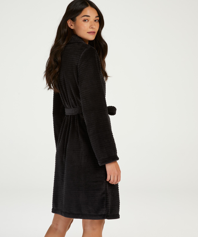 Korte badjas Fleece rib, Zwart, main